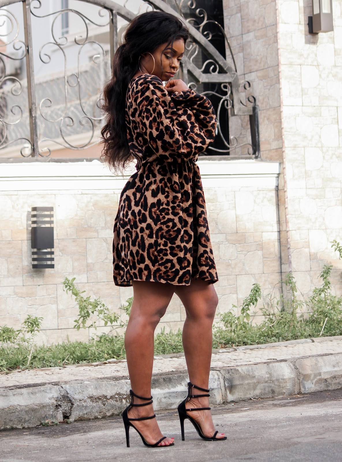 LEOPARD PRINT DRESS - Porshher Leopard Print Dress and black sandals from Public Desire