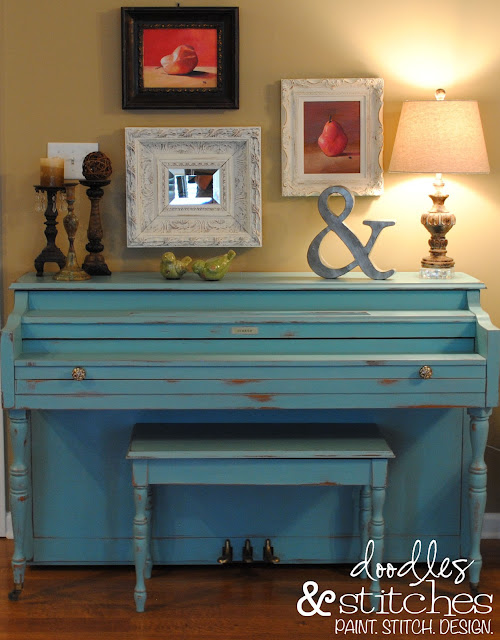 Annie Sloan Chalk Paint painted piano by Doodles & Stitches