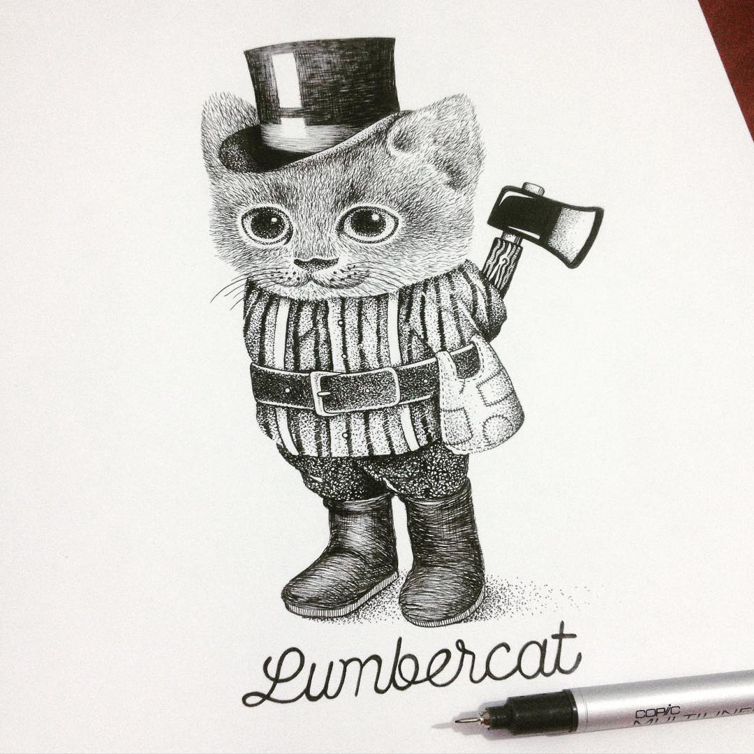 11-Lumbercat-Thiago-Bianchini-Eclectic-Collection-of-Drawings-and-Illustrations-www-designstack-co