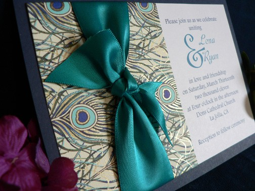 Peacock Feather Wedding Invitation: Celebrations By Shari: Wedding Invitations For Peacock