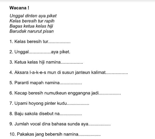 Soal Bahasa Sunda Kelas 3 Sd Dan Jawabannya Guru Galeri