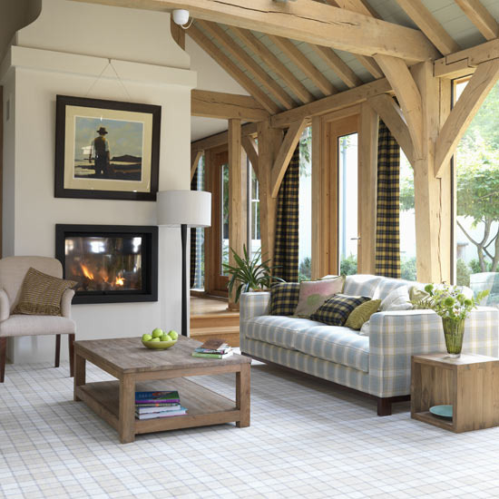 Plaid Furniture Country Living Room: New Home Interior Design: Collection Of Country Living