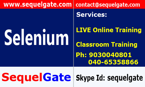 Real Time Online Training on Selenium @ SequelGate