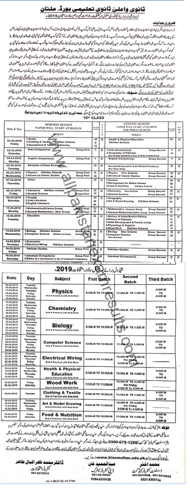 BISE Multan 10th Class Date Sheet 2019