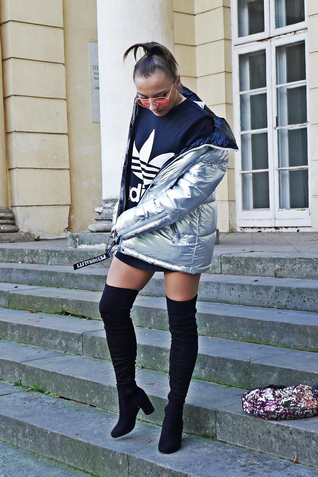 Kozaki za kolano renee srebrna kurtka karyn blog modowy