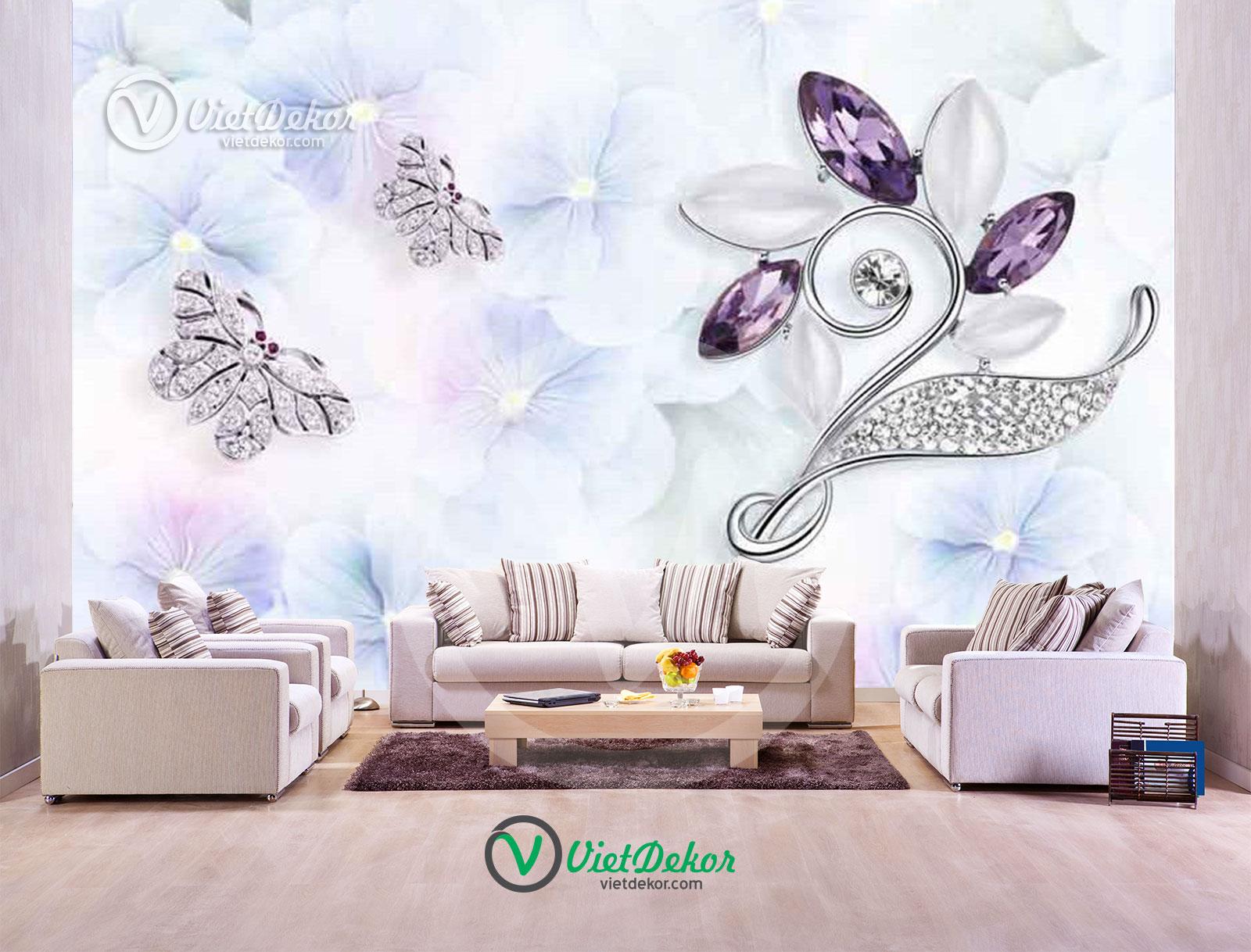 Tranh dán tường 3d hoa bướm trang sức