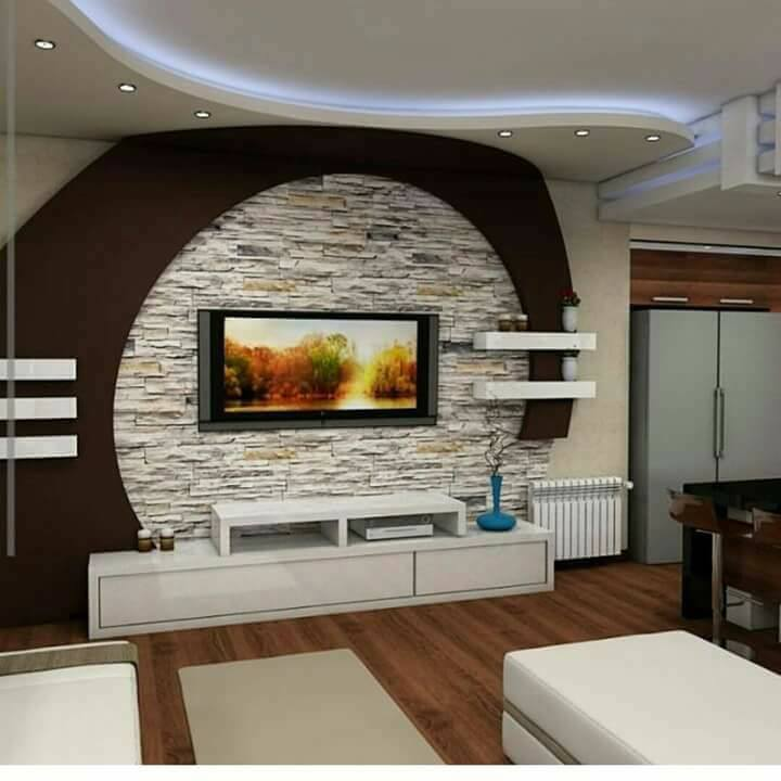 Gypsum Board TV Wall Design With LED Lights For Modern