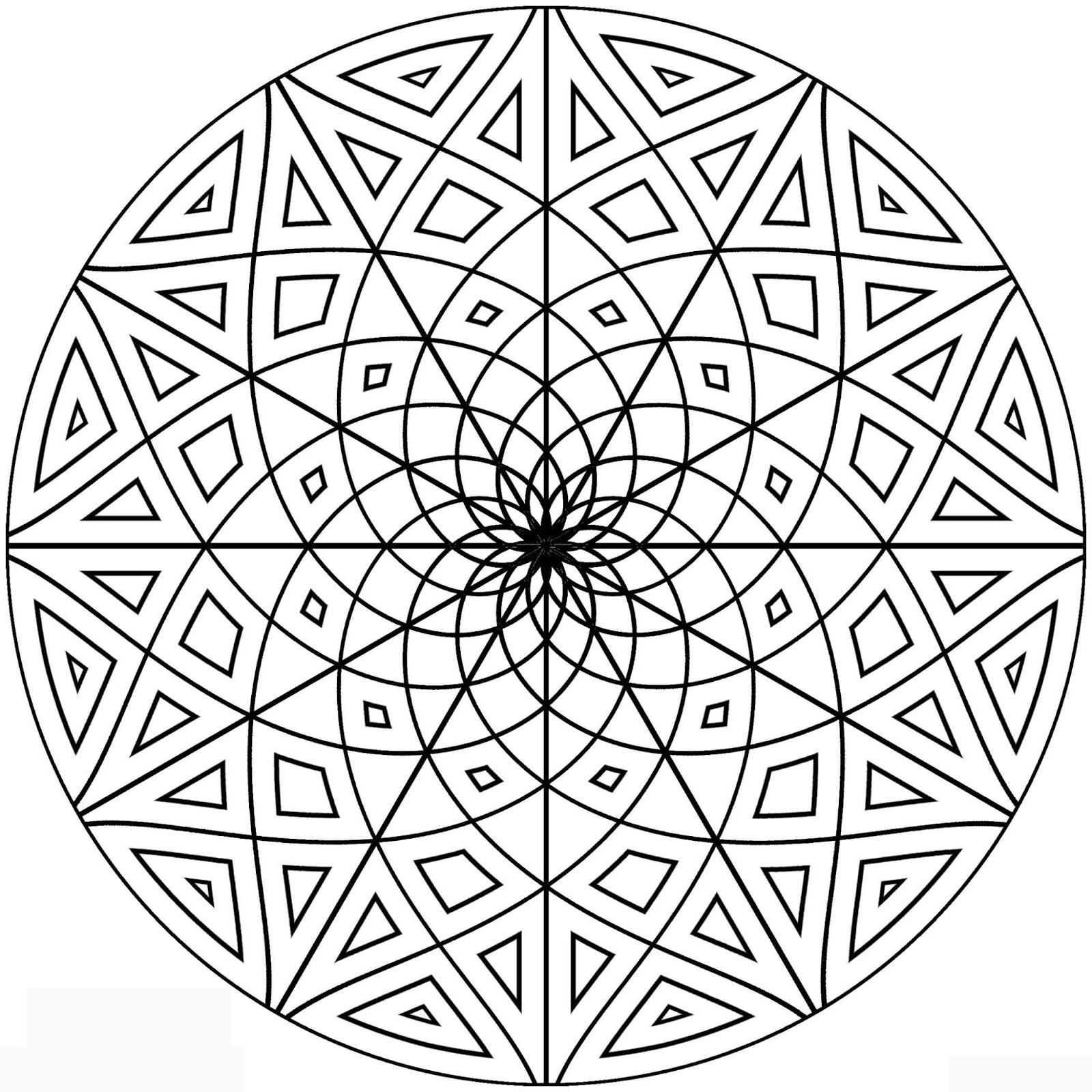 easy geometric design coloring pages - photo#6