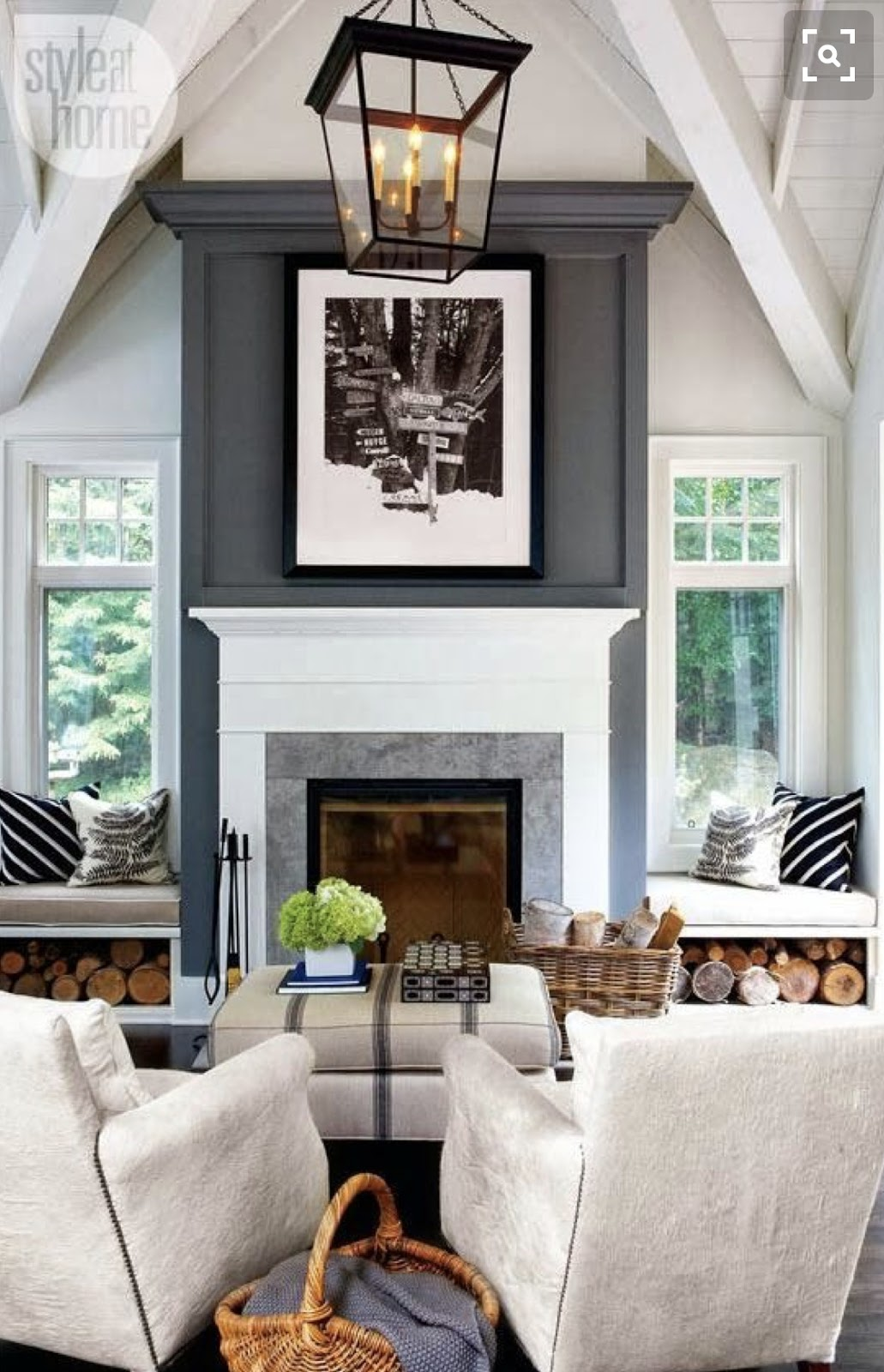 Tall fireplace wall with gray paint