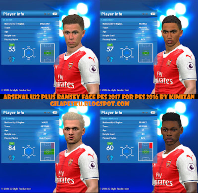 ARSENAL U23 PLUS RAMSEY FACE PES 2017 FOR PES 2016 BY KIMIZAN