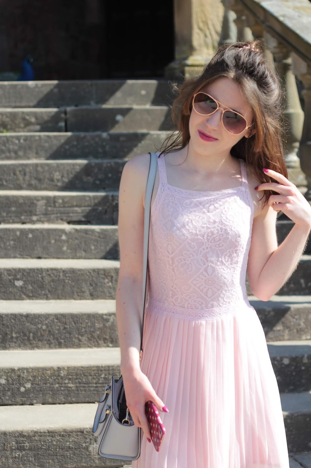 Hollister dress pink lace