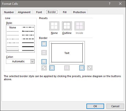 effetti alle celle selezionate in Excel