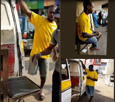 One Legged Man Working As Bus Conductor In Lagos (Photos)