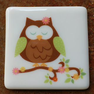 sassy glass studio fused glass coaster with owl