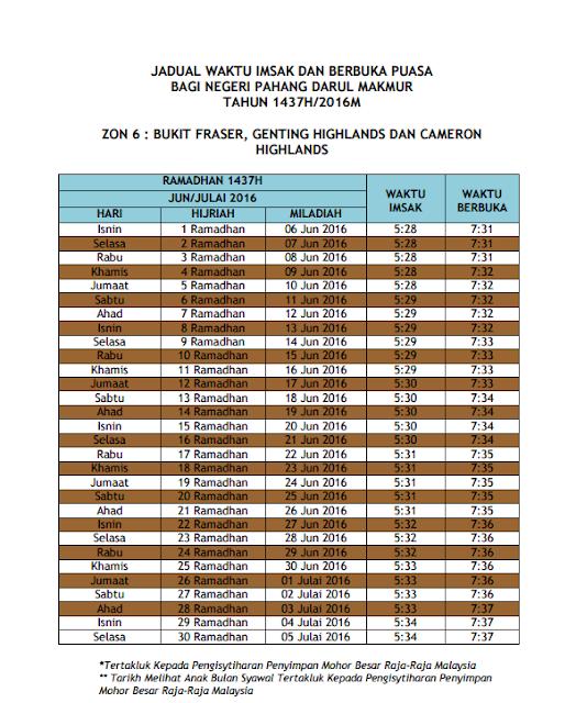 Jadual Waktu Berbuka Puasa dan Imsak 2016 Pahang