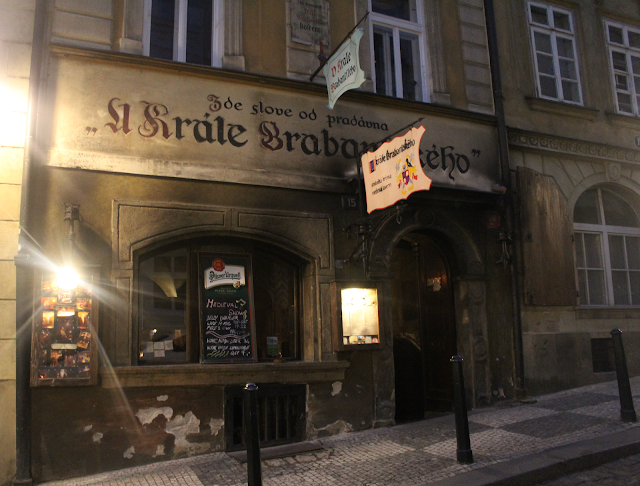 The outside of a Czech beer tavern