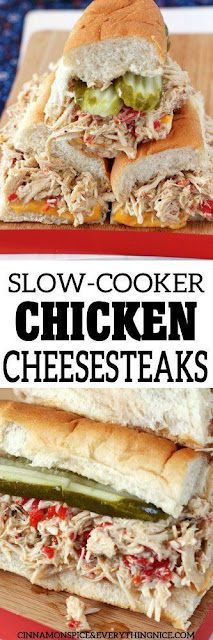 Slow Cooker Chicken Cheesesteaks