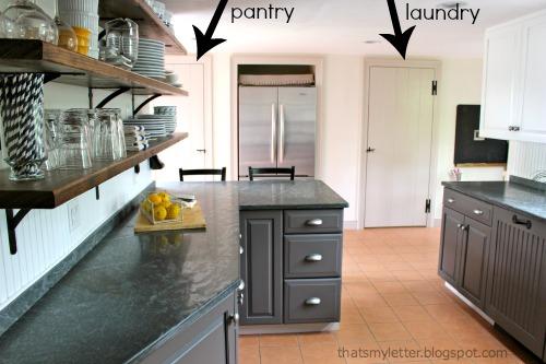 kitchen view facing fridge