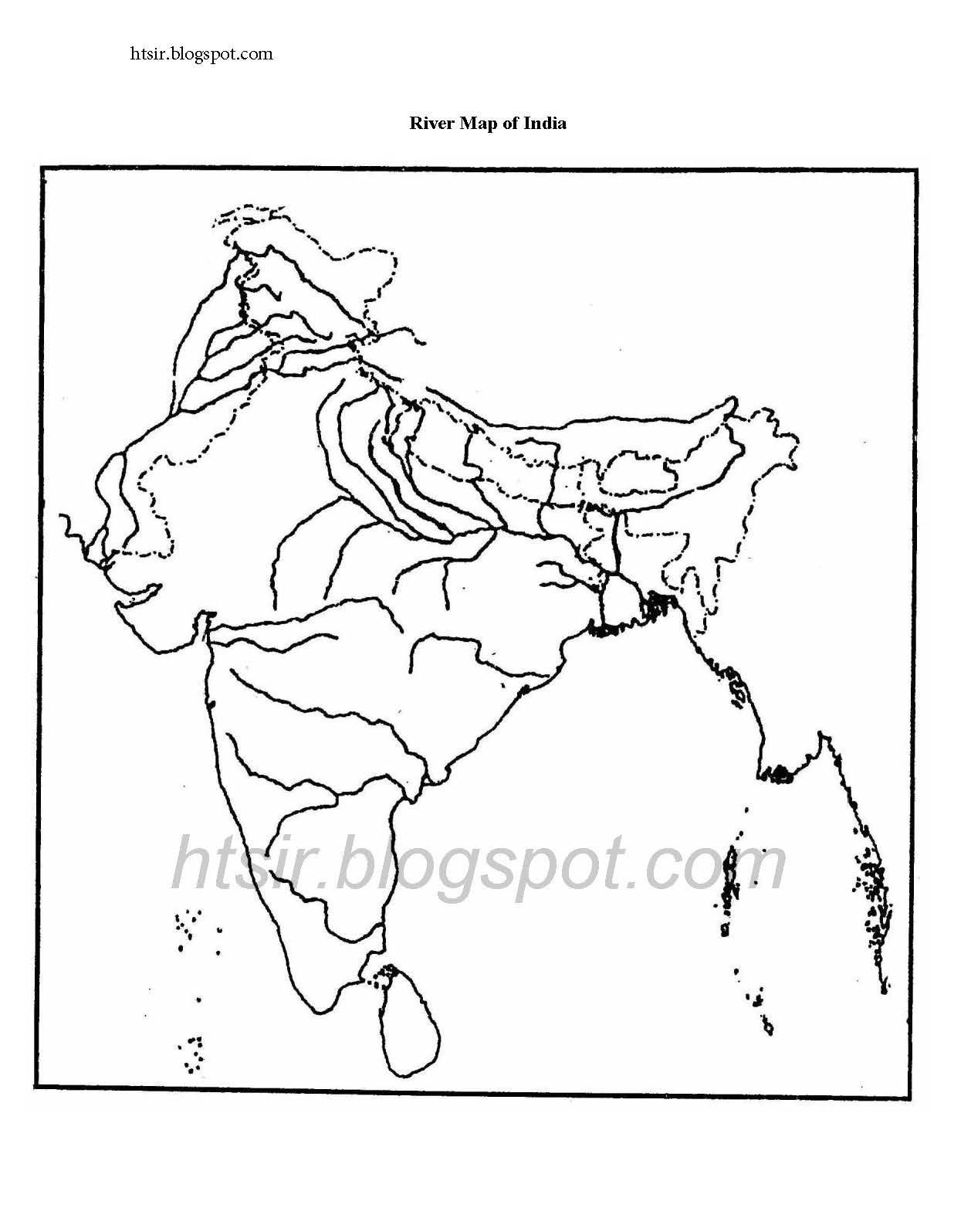 India Map Outline With Rivers