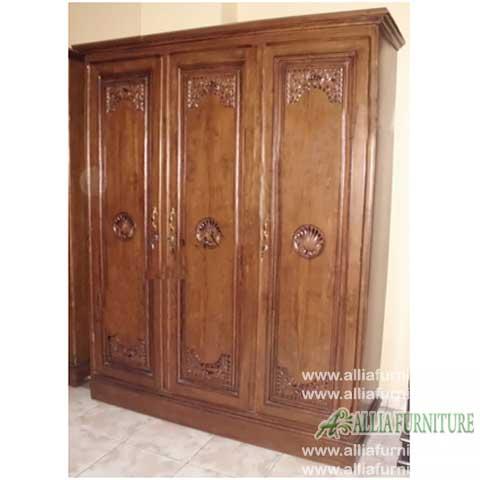 lemari pakaian kayu jati ukiran barcelona
