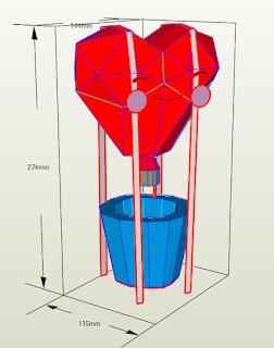 balão de ar quente coração papercraft silhouette