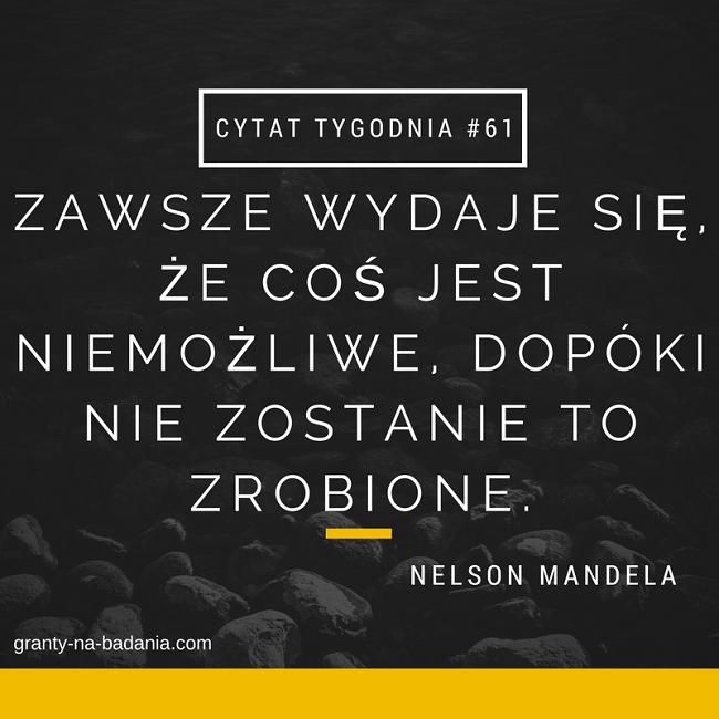 """""""Zawsze wydaje się, że coś jest niemożliwe, dopóki nie zostanie to zrobione."""" Nelson Mandela"""