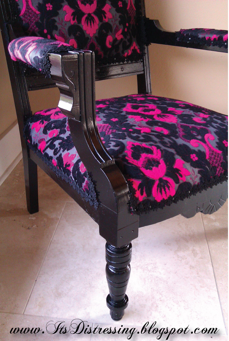 Its Distressing Pink Velvet King Louis Chair