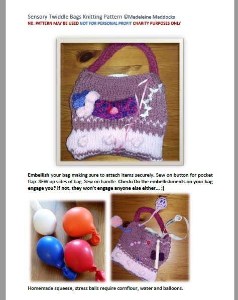 Textile Creations Uk Free Twiddle Bag Knitting Pattern For Dementia