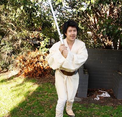 Adam dressed as Luke Skywalker