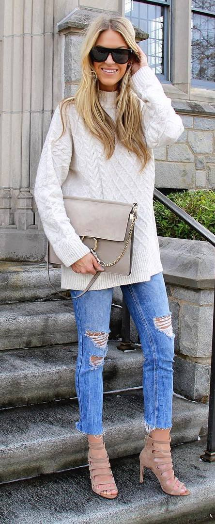 trendy fall outfit: knit + bag + rips + heels
