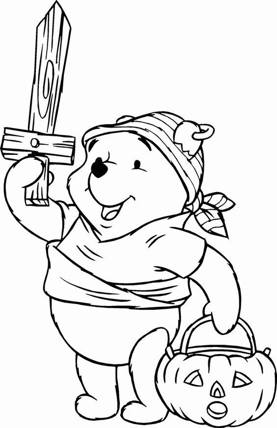 Tranh cho bé tô màu gấu Pooh 19
