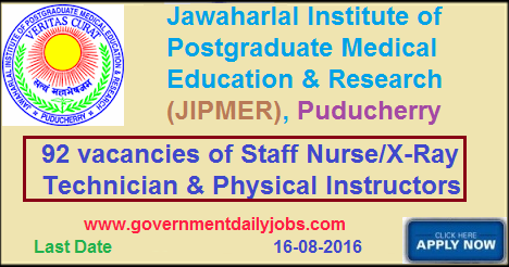 STAFF NURSE & OTHER VACANCY IN JIPMER PUDUCHERRY RECRUITMENT