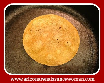 Corn Tortillas on Cast Iron Skillet for Smoked Brisket Tacos