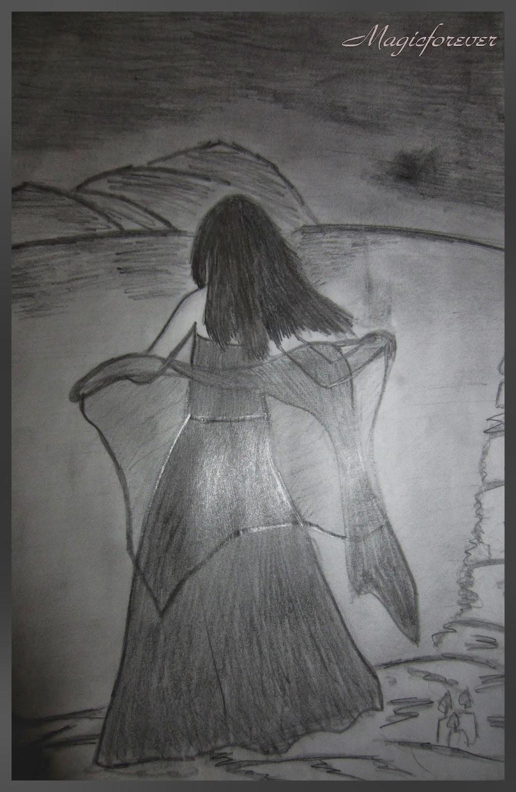 Fallen, sad girl, night, sea,