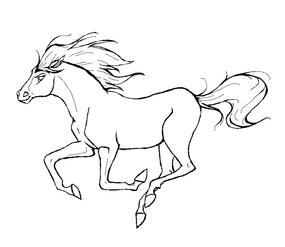 Tranh tô màu con ngựa đang chạy đẹp
