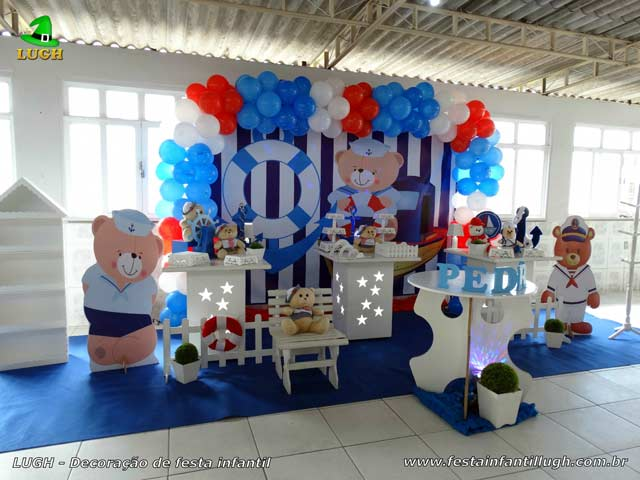 Decoração mesa de aniversário infantil de 1 ano Tema Ursinho Marinheiro