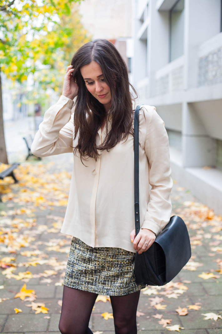 Outfit: silk blouse, tweed skirt