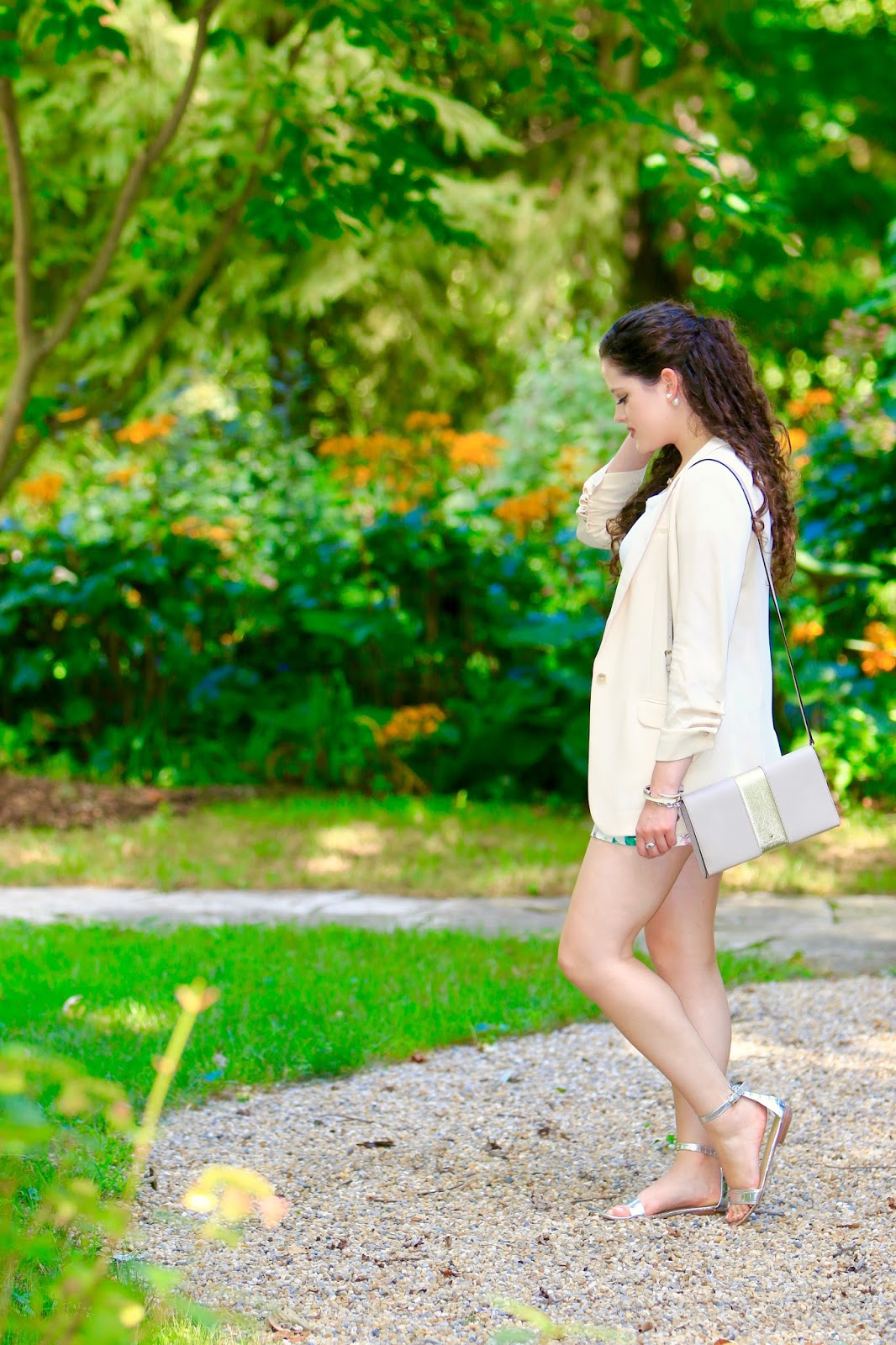 oversized cream blazer shorts