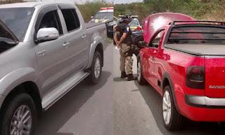 PRF recupera dois veículos roubados em Patos