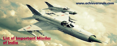 List of Missiles of India - For BANK, SSC and Railway Exams, Bank of Baroda PO, SSC CGL, NIACL Assistant, NICL AO, SBI PO, IBPS PO, SBI CLERK
