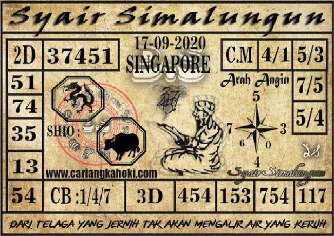 Kode syair Singapore Kamis 17 September 2020 169