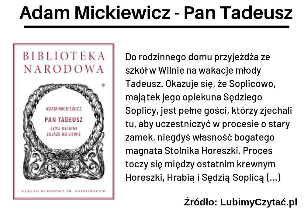 Adam Mickiewicz, Pan Tadeusz, TOP 10, Marzenie Literackie