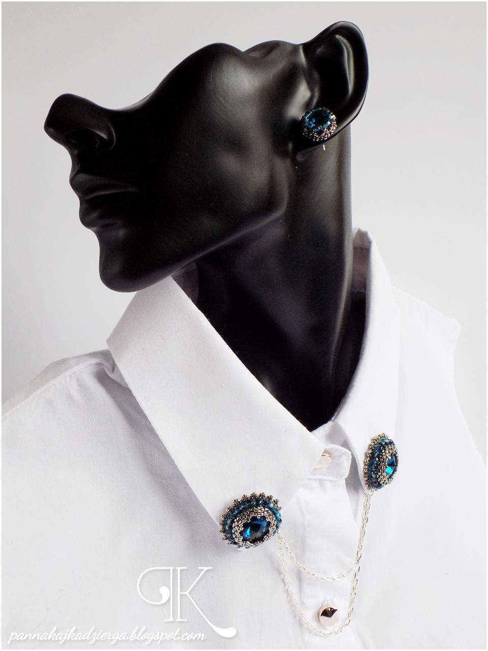 bransoletka, broszka kołnierzykowa, fire polish, haft koralikowy, kolczyki, kryształki bonny, rivoli, toho