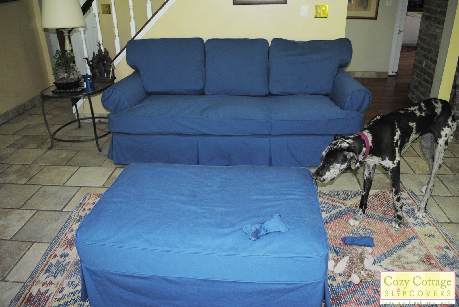 Leather Sofa Cleaning Sheffield Duncan Phyfe Characteristics Cozy Cottage Slipcovers Brown To Blue Cotton