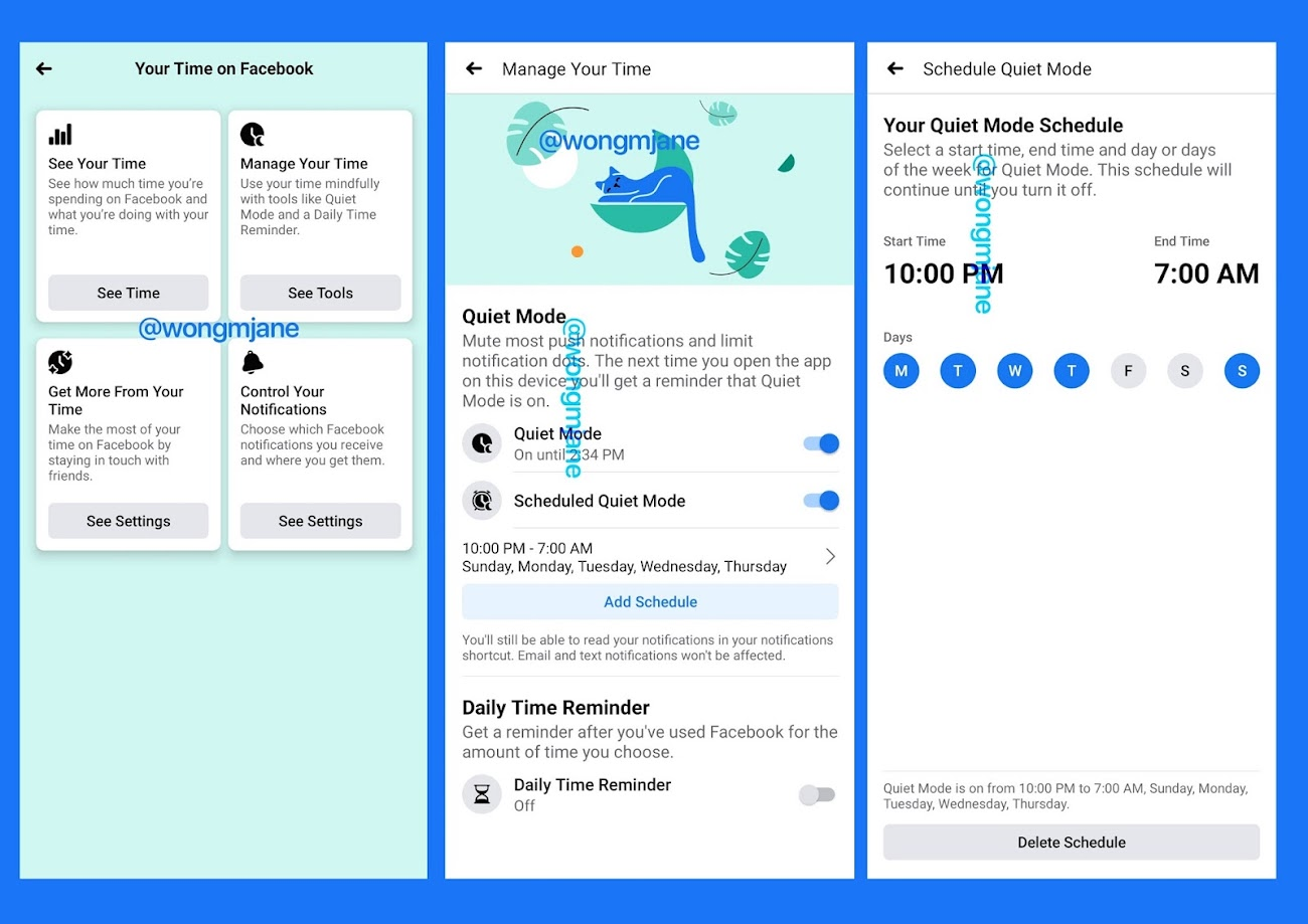 "Facebook is testing an improved version of ""Your Time on Facebook"" feature, adding Quiet Mode and Scheduled Quiet Mode options"