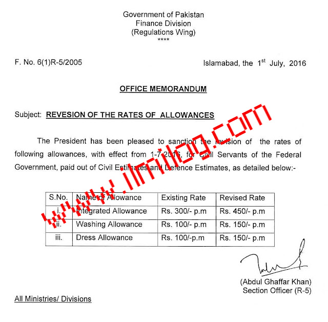 Notification of Revised Rates of 3 Allowances for Federal Govt Employees