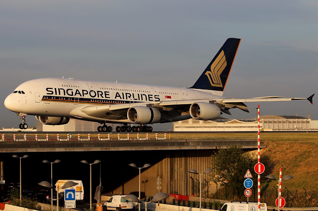 Singapore Airlines A380-800 Takeoff At Charles De Gaulle