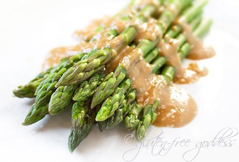 Get the recipe: Asparagus with Maple Tahini Dressing + Sea Salt