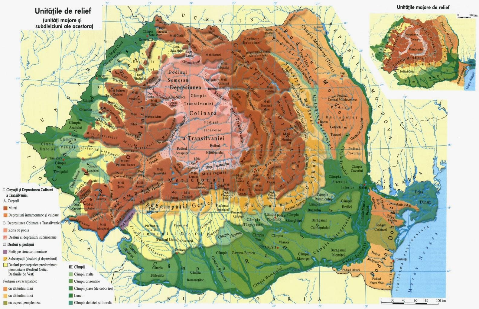 Harta Unitati Majore De Relief Romania Harta