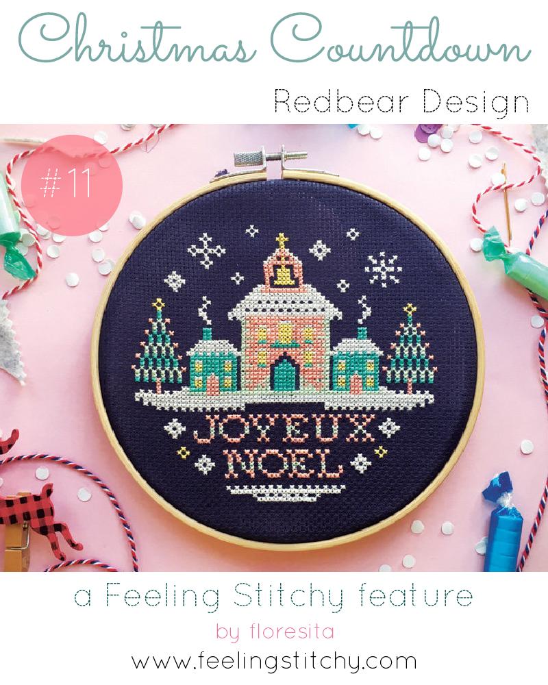 Christmas Countdown 11 - Red Bear Design Joyeux Noel Cross Stitch pattern, featured on Feeling Stitchy by floresita